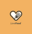 food lovers logo design concepts love food vector image vector image
