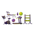 gym equipment for workout fitness and sport vector image