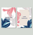 Hand drawn tropical blue pink and white leaves