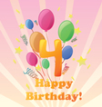 happy birthday four years vector image vector image