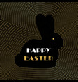 happy easter card gold art deco outline bunny vector image