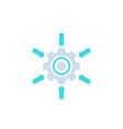 integration system icon with cogwheel and arrows vector image vector image