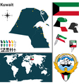 Kuwait map world vector image vector image