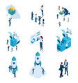 large isometric set business concepts startu vector image vector image
