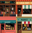 Local Shops Shopfront Icon Set vector image vector image