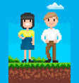 man and woman pixelated characters retro style vector image vector image