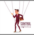 manipulation businessman puppet master and vector image