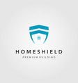 minimalist home building shield logo design vector image vector image