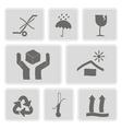 monochrome icons with packaging symbols vector image vector image