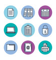 office stationery equipment supplies icon set vector image vector image