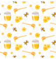 pattern with flying bees honey vector image vector image