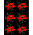 Poppies on a black seamless background vector image vector image