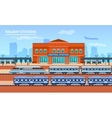 Railway station flat background vector image vector image