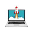 rocket launch website computer concept vector image
