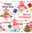 seamless pattern happy new year pig vector image vector image