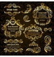set gold frame and vintage design elements vector image vector image