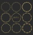 set of golden floral round frames for decoration vector image vector image
