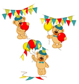 set of isolated teddy bear with balloons and vector image