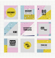 Set trendy geometric elements memphis cards