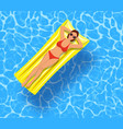 sexy girl lying on mattress over water vector image