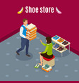 shoe store isometric background vector image vector image
