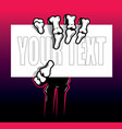 skeleton hand holding card vector image