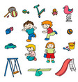 sketch colored children entertainments set vector image vector image