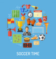soccer flat icon concept vector image vector image
