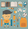 Student and tool flat design vector image vector image