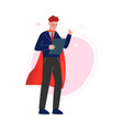 super man in red waving cape raising up his finger vector image vector image