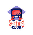 surfing club logo windsurfing retro badge with vector image