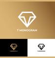 t monogram jewelry logo lat linear diamond vector image
