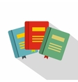 Three books with bookmarks icon flat style vector image