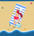 top view young woman in red bikini on beach vector image vector image