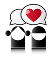 Two people with red heart vector image vector image