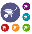 wheelbarrow icons set vector image vector image