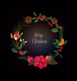 winter christmas floral wreath vector image vector image