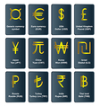 Golden currency symbols of the world vector image