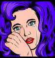 sad girl crying pop art style vector image