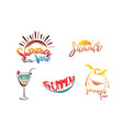 summer lettering set with sun cocktail vector image