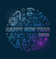 2020 happy new year circular colored vector image