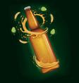 beer bottle splash around bottle vector image vector image