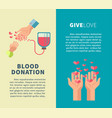 blood donation and give love social action vector image