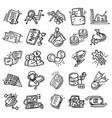 business set hand drawn icon design outline black vector image