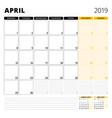 calendar planner for april 2019 stationery design vector image vector image