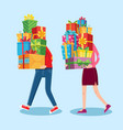 carry gifts stack carrying christmas stacked vector image