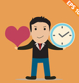 Cartoon Businessman with time to love - - EP vector image