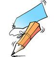 cartoon of an writing pencil and a memorandum vector image