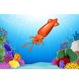 Cartoon squid with beautiful underwater world vector image vector image