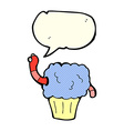 cartoon worm in cupcake with speech bubble vector image